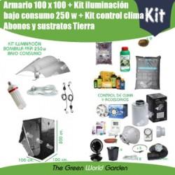 Kit armario 1 x 1 - Bombilla fría bajo consumo 250 w - Tierra