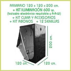 Kit chambre de culture 120 x 120 600 w réglable, Adjust-A-Wings - Terre