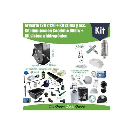 Kit armario 120 x 120 - Cooltube 600 w - Hidropónico