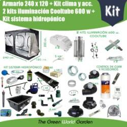 Kit hidropónico 240 x 120 (2xCooltube 600 w)