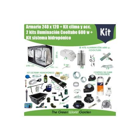 Kit armario 240 x 240 - 2 Cooltube 600 w - Hidropónico