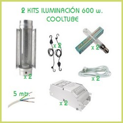 Kit hydroponie 240 x 120 (2xCooltube 600 w)
