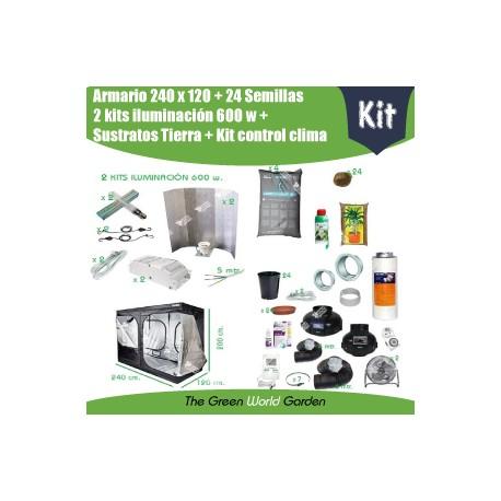 Kit armario 240 x 120 - 2 Focos 600w - Tierra