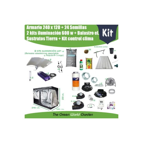 Kit armario 240 x 240 - 2 Focos 600 w Adjust-A-Wings